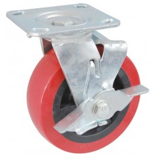 Колесо SA 100 (302-210-100) с кронштейном поворотным пластик/полиуретан с тормозом