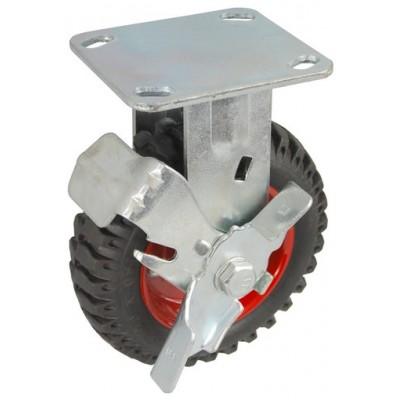 Колесо SA 100 (304-200-100) с кронштейном металл/резина с шариковым подшипником с тормозом