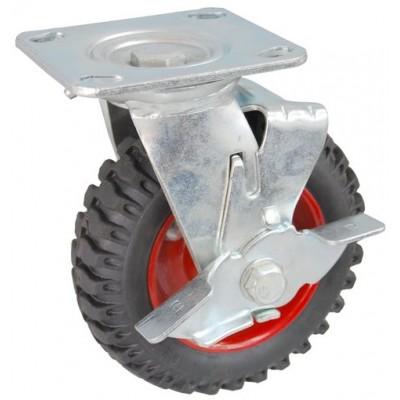 Колесо SA 100 (302-200-100) с кронштейном поворотным металл/резина с шариковым подшипником с тормозом