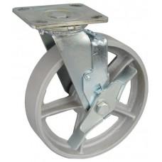 Колесо SA 100 (302-230-100) с кронштейном поворотным чугун с тормозом