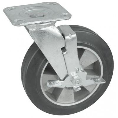 Колесо SA 125 (302-250-125) с кронштейном поворотным алюминий/резина с тормозом