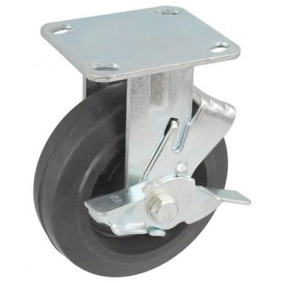 Колесо SA 100 (304-240-100) с кронштейном чугун/резина с тормозом