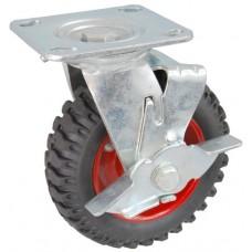 Колесо SA 160 (302-200-160) с кронштейном поворотным металл/резина с шариковым подшипником с тормозом