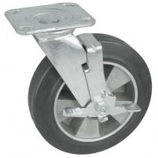 Колесо SA 200 (302-250-200) с кронштейном поворотным алюминий/резина с тормозом