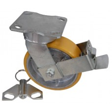 Колесо SD 100 (322-225-100) с кронштейном поворотным чугун/полиуретан с тормозом
