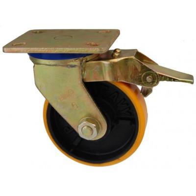 Колесо SG 125 (332-223-125) с кронштейном поворотным чугун/полиуретан с тормозом