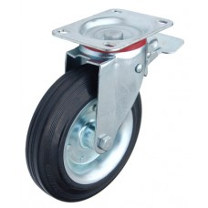 Колесо Y 200 (182-001-200) с кронштейном поворотным металл/резина с тормозом