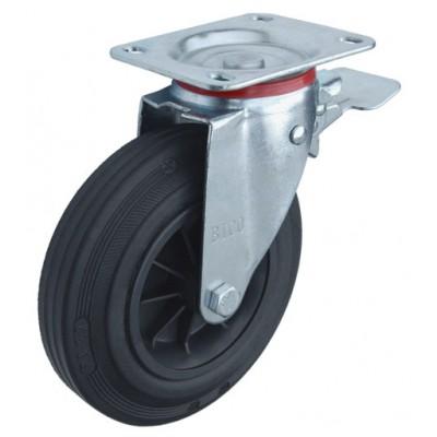 Колесо Y 200 (182-005-200) с кронштейном поворотным пластик/резина с тормозом